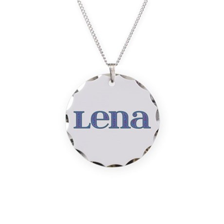 Lena Blue Glass Necklace Circle Charm