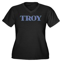 Troy Blue Glass Women's Plus Size V-Neck Dark T-Sh