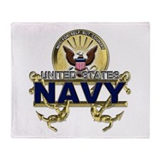 US Navy Gold Anchors Throw Blanket