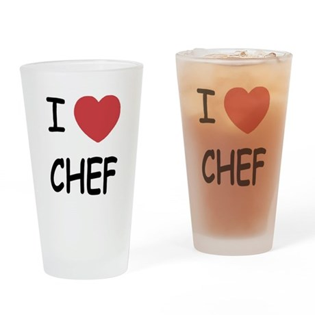 I heart chef Drinking Glass