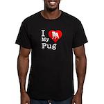 I Love My Pug Men's Fitted T-Shirt (dark)