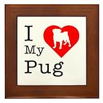 I Love My Pug Framed Tile
