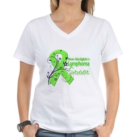 Non-Hodgkins Survivor Women's V-Neck T-Shirt