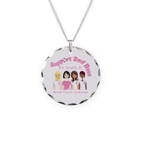 2nd Base is Worth it Breast Cancer Necklace Circle
