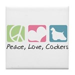 Peace, Love, Cockers Tile Coaster