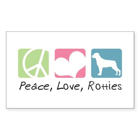 Peace, Love, Rotties Sticker (Rectangle)