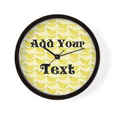 Banana Pattern with Custom Text Wall Clock