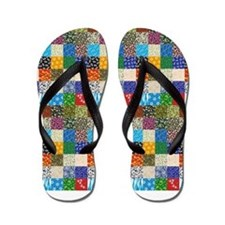 Country Quilt Flip Flops
