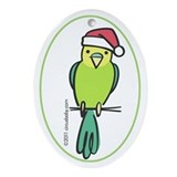 Yellow/Green Parakeet Santa Ornament (Oval)
