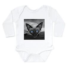 Siamese Cat B&W Photo Art Long Sleeve Infant Bodys
