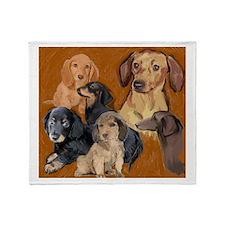 dachshund mural Throw Blanket