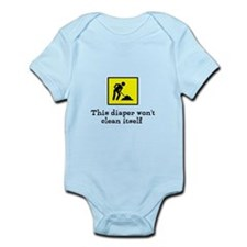 This diaper won't clean itsel Infant Bodysuit