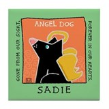 SADIE Black Dog Angel Memorial Tile Coaster