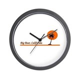 California surfing bear Wall Clock