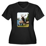 Elk Wapiti Women's Plus Size V-Neck Dark T-Shirt