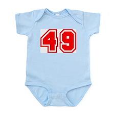Varsity Uniform Number 49 (Red) Infant Creeper