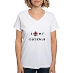 I *heart* My Basenji Women's V-Neck T-Shirt
