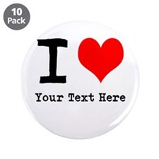"""I Heart (personalized) 3.5"""" Button (10 pack)"""