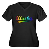 Alaska Rainbow Vintage Women's Plus Size V-Neck Da