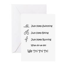 Just Keep Tri-ing Greeting Cards (Pk of 20)