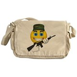 Smiling Soldier and Gun Messenger Bag