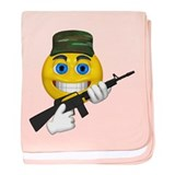 Smiling Soldier and Gun baby blanket
