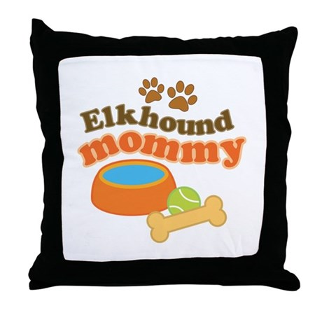 Elkhound Mommy Pet Gift Throw Pillow