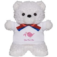Personalized Pink Cancer Bird Teddy Bear