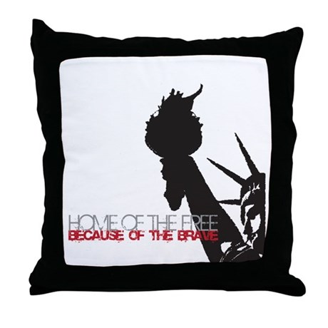 Because of the Brave Throw Pillow