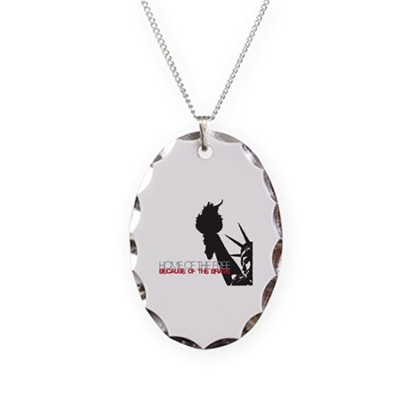 Because of the Brave Necklace Oval Charm