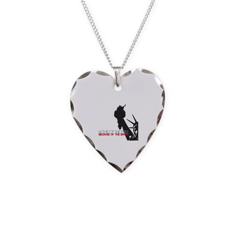 Because of the Brave Necklace Heart Charm