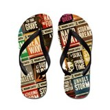 Castle Retro Novel Covers Collage Flip Flops