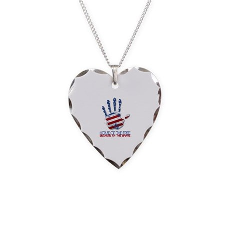 Home of the Free Necklace Heart Charm
