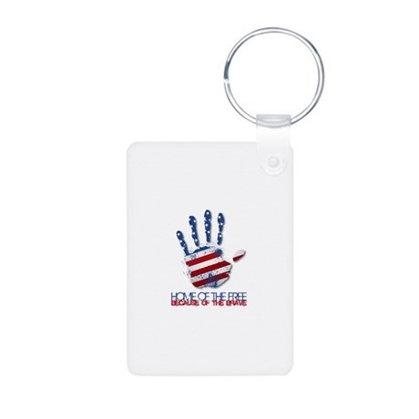 Home of the Free Aluminum Photo Keychain
