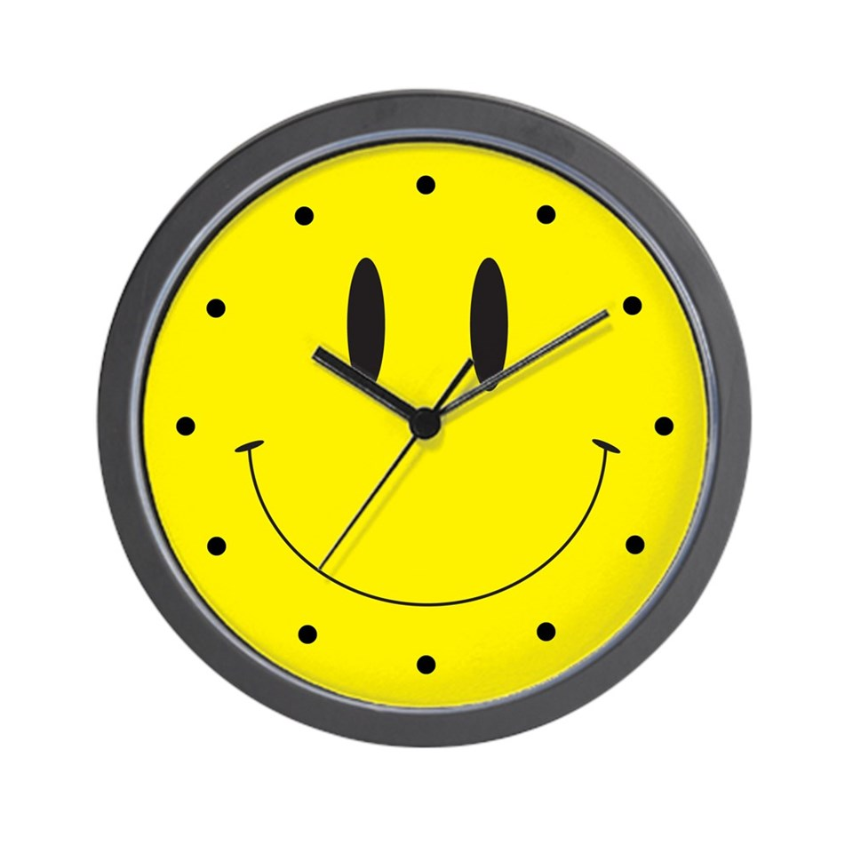 Smiley Face Wall Clock Retro Clocks (12) Clock O Rama