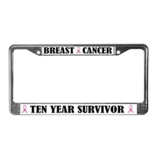 Breast Cancer 10 Year Survivor License Frame