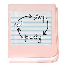 'Eat Sleep Party' baby blanket