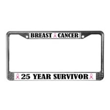 Breast Cancer 25 Year Survivor License Frame