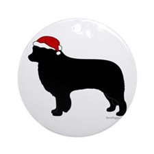 Border Collie Santa Ornament (Round)