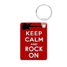 KEEP CALM AND ROCK ON Aluminum Photo Keychain