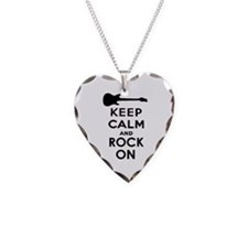 KEEP CALM AND ROCK ON Necklace Heart Charm