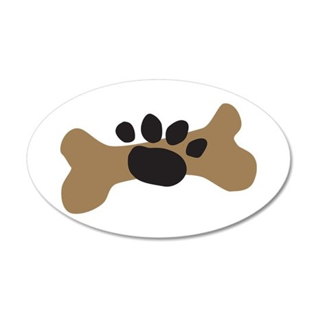 Dog Bone & Paw Print 22x14 Oval Wall Peel