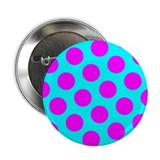"Magenta and Aqua Polka Dots 2.25"" Button (10 pack)"