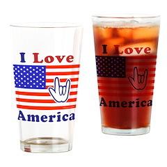 ILY America Flag Drinking Glass