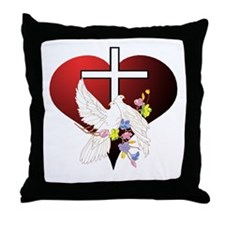 Christian Dove and Cross Throw Pillow