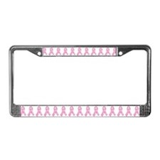 Pink Ribbon Print License Plate Frame