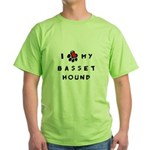 I *heart* My Basset Hound Green T-Shirt