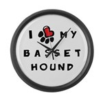 I *heart* My Basset Hound Large Wall Clock