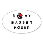 I *heart* My Basset Hound Sticker (Oval 10 pk)