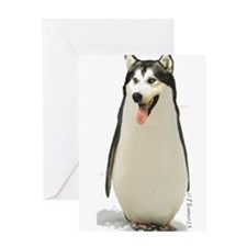 Malamute Penguin Greeting Card
